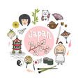 doodle hand draw collection of japan icons vector image