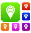 map pin set color collection vector image