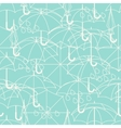 Seamless pattern with cute umbrellas in flat vector image