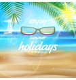Seaside view poster with Sun glasses vector image