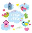 set cartoon birds hearts bird house vector image