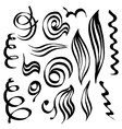 Spiral curls and sketched abstract lines Hand vector image