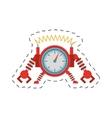 clock robotic machine pincers arms wheel cutting vector image