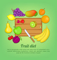 fruits concept cut knife cartoon style vector image