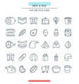 meat and milk thin icons vector image vector image
