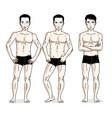 handsome men standing in black underwear set of vector image