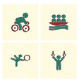 set of olympic game design in hatching style vector image vector image