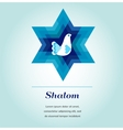 template card with jewish symbols and peace dove vector image vector image