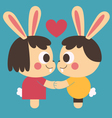 Bunny Couple Holding Hands vector image