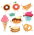 Set of cute funny smiley dessert characters vector image
