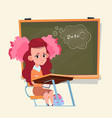 small school girl sit at desk over class board vector image