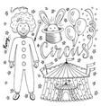 hand drawn circus collection with clown balloon vector image