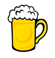 Tankard of frothy golden beer vector image vector image