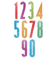 Retro style geometric tall condensed numbers set vector image