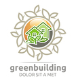 Abstract Logo Green Building Leaves House Symbol vector image