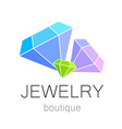 jewelry boutique sign logo vector image vector image