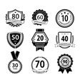 Anniversary sign collection retro design vector image