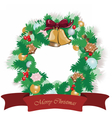 Christmas festive wreath with decorations vector image