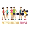 fitness man and woman with barbell in gym vector image