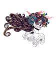Sugar Skull Girl in Flower Crown10 vector image