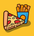 delicious pizza and fries french food vector image
