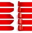 Set of curled red ribbons with shadows on white vector image