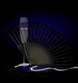 black fan and champagne vector image vector image