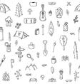 Hand drawn hike seamless pattern Picnic travel vector image