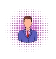 Businessman icon in comics style vector image