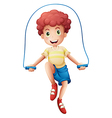 A boy playing with the rope vector image
