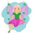beautiful fairy sitting on swing winged elf vector image