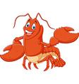 Cute lobster cartoon waving isolated vector image