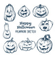 set of halloween pumpkins with evil scary smile vector image