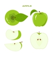 Set of juicy green apple isolated on a white vector image