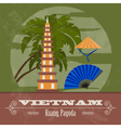 Vietnam landmarks Retro styled image vector image