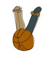 A basketball with skateboard vector image