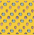 doodles faces pattern vector image