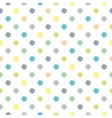 Tile green blue yellow polka dots white background vector image