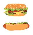 Hotdog and burger vector image