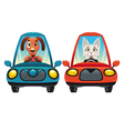 Animals in the car Dog and Cat vector image