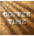 Morning Coffee Time Phrase with Sun shine Flares vector image