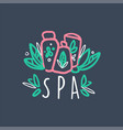 spa colorful hand drawn logo emblem for wellness vector image