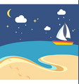 Beach scene with the sailing boat at a night vector image