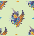 seamless pattern with owl and feathers vector image