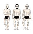 handsome men posing in black underwear people set vector image