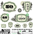 Money and numbers set vector image