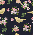 Seamless floral pattern in black vector image