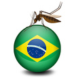 Brazil flag on ball and mosquito vector image