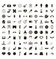 100 sport game icons set simple style vector image