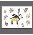 Greeting card with deer scarf and autumn vector image